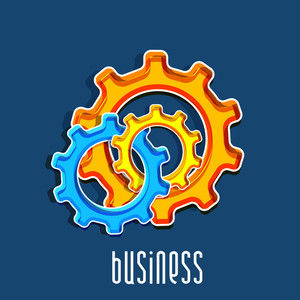 Colorful cogwheel on blue background for your business.