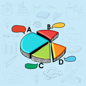 Colorful creative 3D pie chart on various business infographic elements background.
