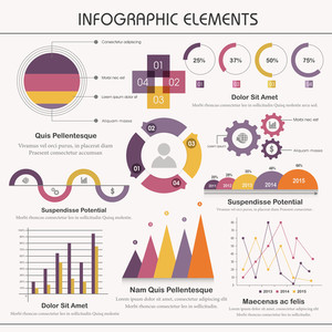 Colorful creative Business Infographic elements set including statistical graph