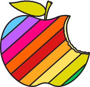 Colorful Eaten Apple