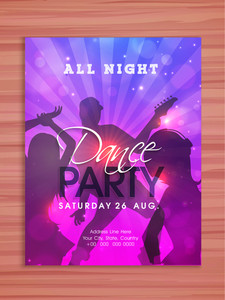 Colorful elegant shiny Dance Party celebration flyer banner or template design.