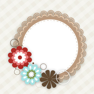 Colorful Floral Decorated Photo Frame On Abstract Background