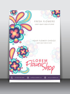 Colorful flowers decorated flyer banner or template design for flower shop.