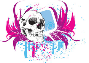 Colorful Frame With Skull Vector T-shirt Design