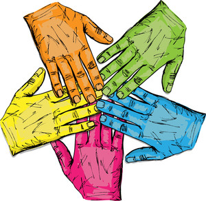 Colorful Group Of Hands Isolated On White. Vector Illustration