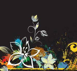 Colorful Grunge Floral Background Vector Illustration