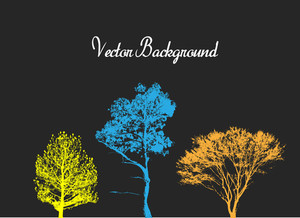 Colorful Grunge Trees Silhouettes