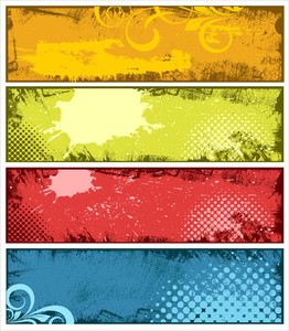 Colorful Grunge Vector Banner Backgrounds