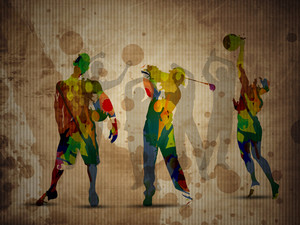 Colorful Grungy Illustration Of Football Soccer Player And Golf Player On Grungy Brown Background With Silthouette Of Sports Persons