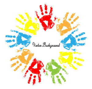 Colorful Hand Prints Banner Vector