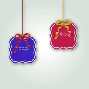 Colorful Hanging With Text Happy Birthday On Blue Background