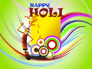 Colorful Happy Holi Background With Comic Water Gun