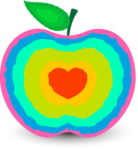 Colorful Heart Apple Vector