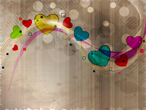 Colorful Heart Shapes In Wave On Grungy Brown Background.