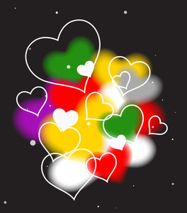 Colorful Hearts In Black Background Vector