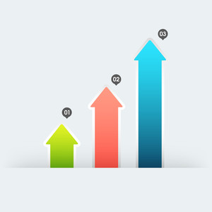 Colorful infographic arrows for your Business growth and reports presentation.
