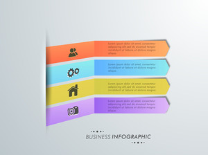 Colorful infographic paper arrows with web symbols for Business.