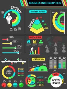 Colorful infographics elements set including growth pie chart
