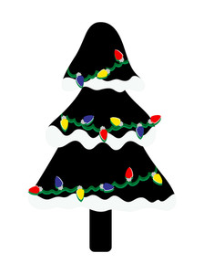 Colorful Lights Snow Black Christmas Tree