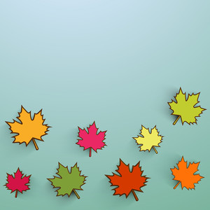 Colorful Maple Leaves On Green Background