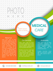 Colorful medical care template banner or flyer presentation with blank space for images and content.