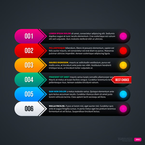 Colorful Menu Template With Six Elements. Eps10.