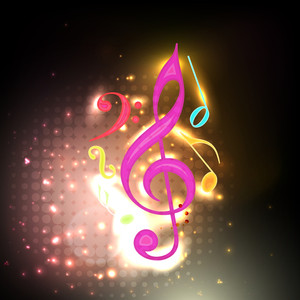 Colorful music notes on shiny background .