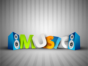 Colorful music text with speakers on grey background .