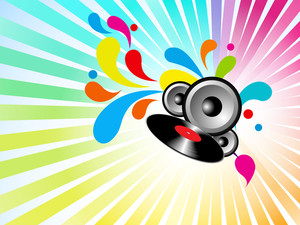 Colorful musical concept with sounds on floral decorated background.