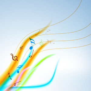 Colorful Musical Notes Wave Background