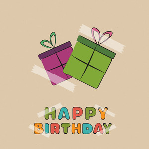 Colorful Pasting Of Gift Bags And Happy Birthday Text On Brown Background