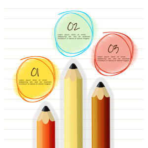 Colorful pencils on notebook paper background for business or corporate sector.