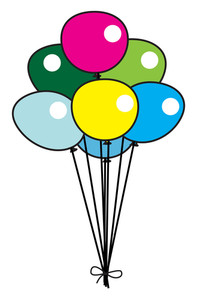 Colorful Retro Balloons Bunch