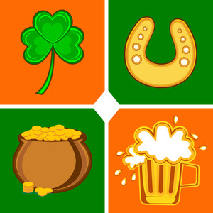 Colorful Set Of Element For St. Patrick's Day. Vector