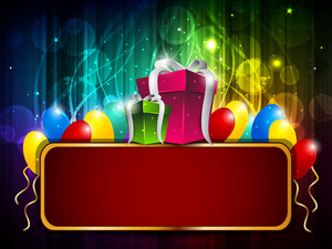 Colorful Shiny Balloon And Gifts Background With Billboard.