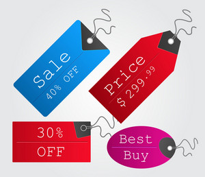 Colorful Shopping Tags Set Vector Illustration