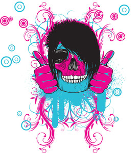 Colorful Skull Vector T-shirt Design