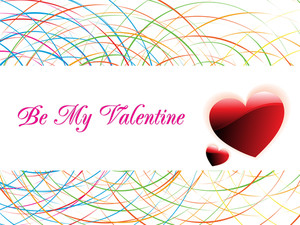 Colorful Spiral Background With Valentine Hearts