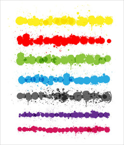 Colorful Splashes Strokes Vectors