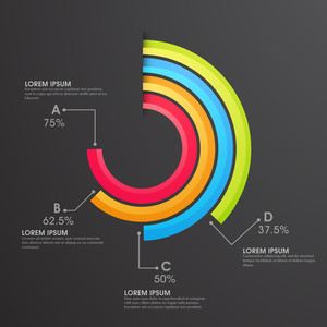 Colorful statistical infographic element on black background for your Business.