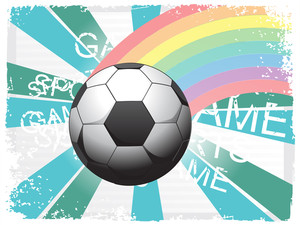 Colorful Stripes With Isolated Soccer