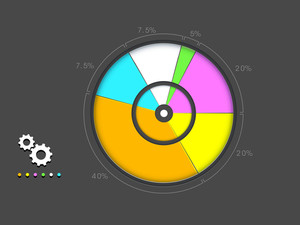 Colorful stylish infographic pie chart with different percentage for your business on grey background.