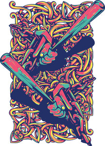 Colorful T-shirt Design With Baseball Bats
