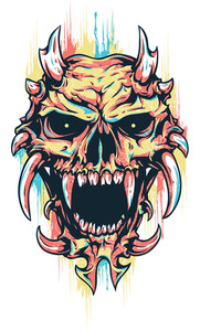 Colorful T-shirt Design With Skull