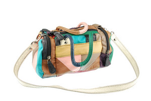 Colorful Teenager Leather Bag On White