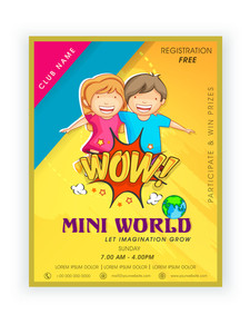 Colorful template banner or flyer design of Mini World with cute happy kids.