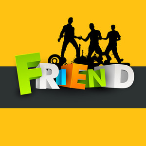 Colorful Text Friend With Silhouette Of Young Boys On Yellow Background