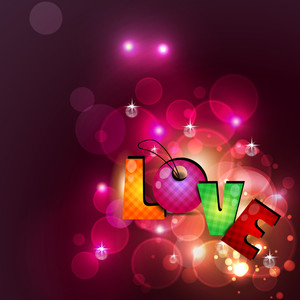 Colorful Text Love On Rays Background.