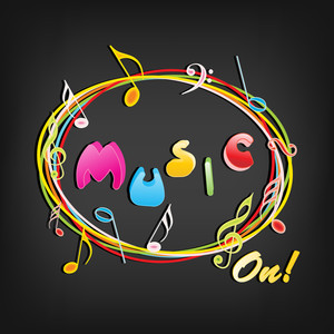 Colorful text Music on grey background
