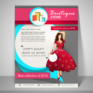 Colourful banner and flyer for boutique with young fashionable girl address bar